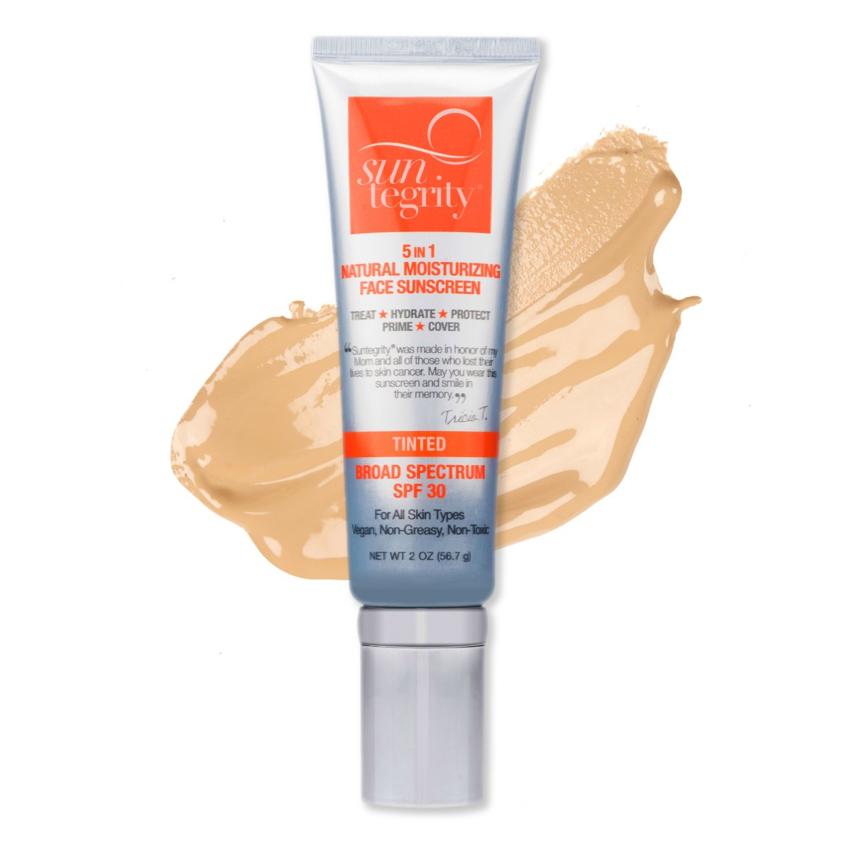 """Suntegrity """"5 In 1"""" Natural Moisturizing Face Sunscreen - Tinted , Broad Spectrum SPF 30"""